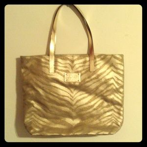 Michael Kors Gold Zebra Striped Tote Bag Metallic